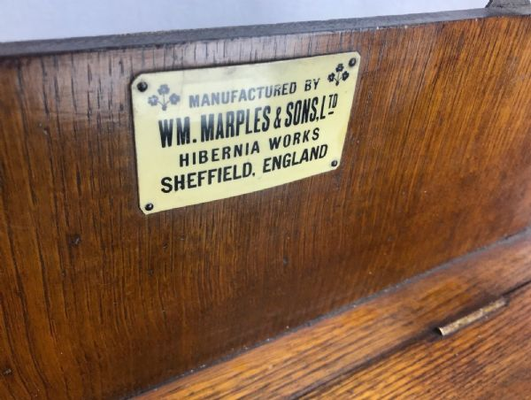 19th Century WM Marples Large Wooden Tool Cabinet / Box / Antique / Wall Hanging